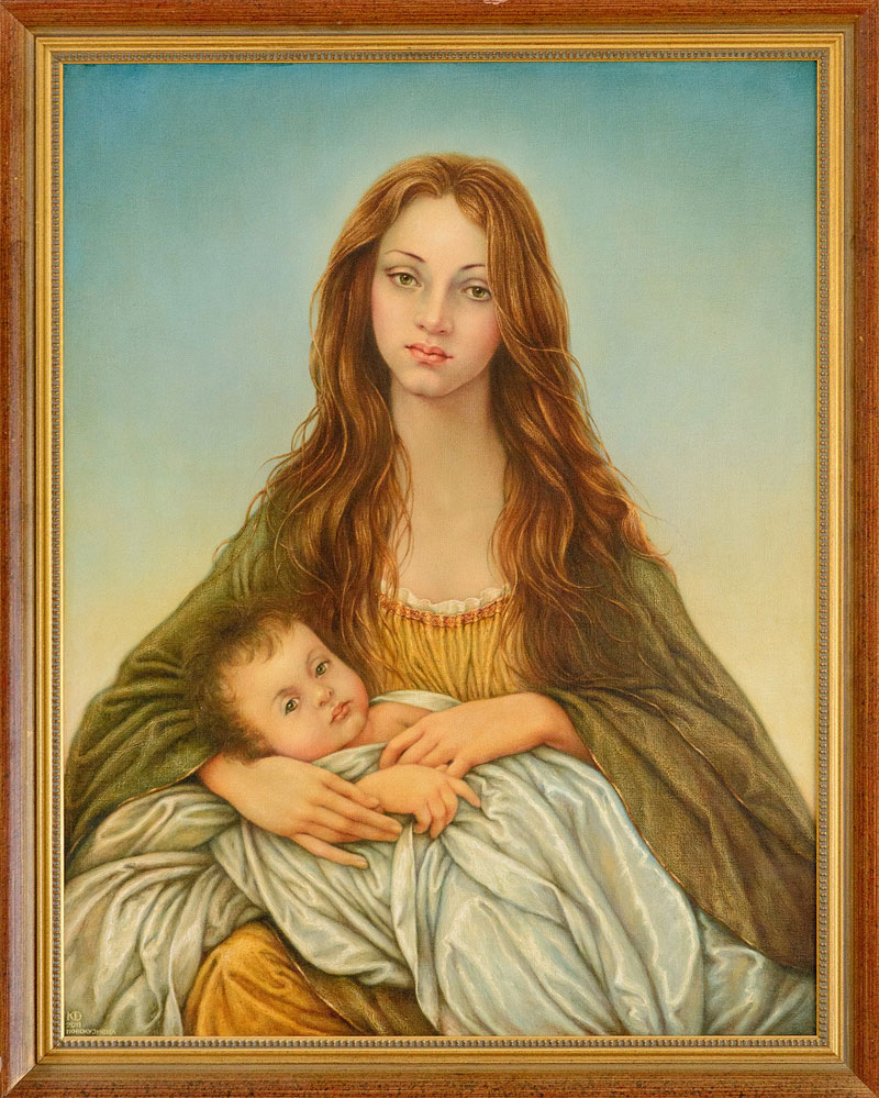 Painting «Madonna» - A magnificent interpretation of the Bible story painted by Russian artist Konstantin Dverin