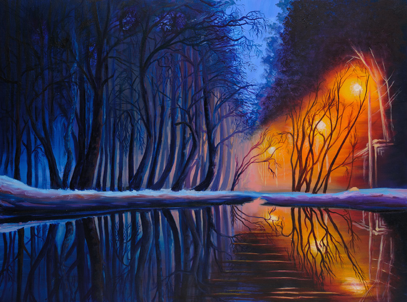 Oil painting on canvas for living room «Evening»