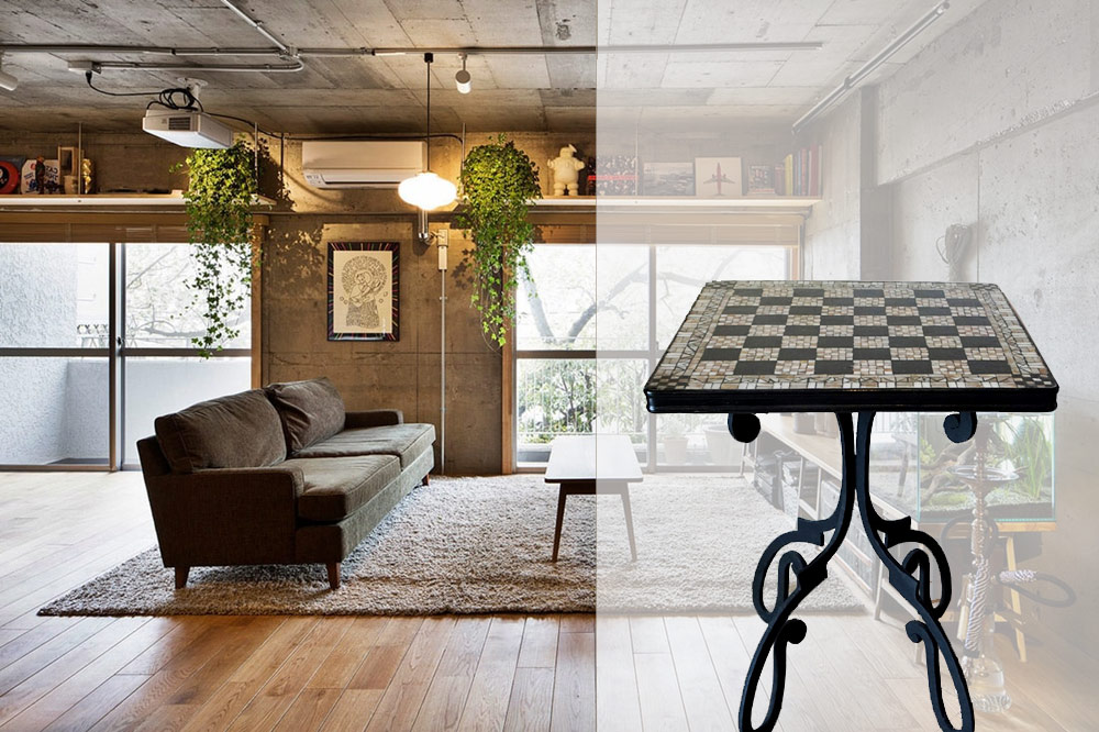 Chess table in a  grunge style interior